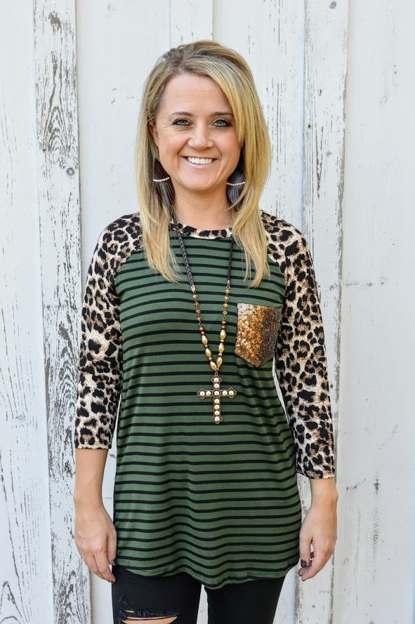 Leopard & Olive Top with Sequin Pocket-PLUS