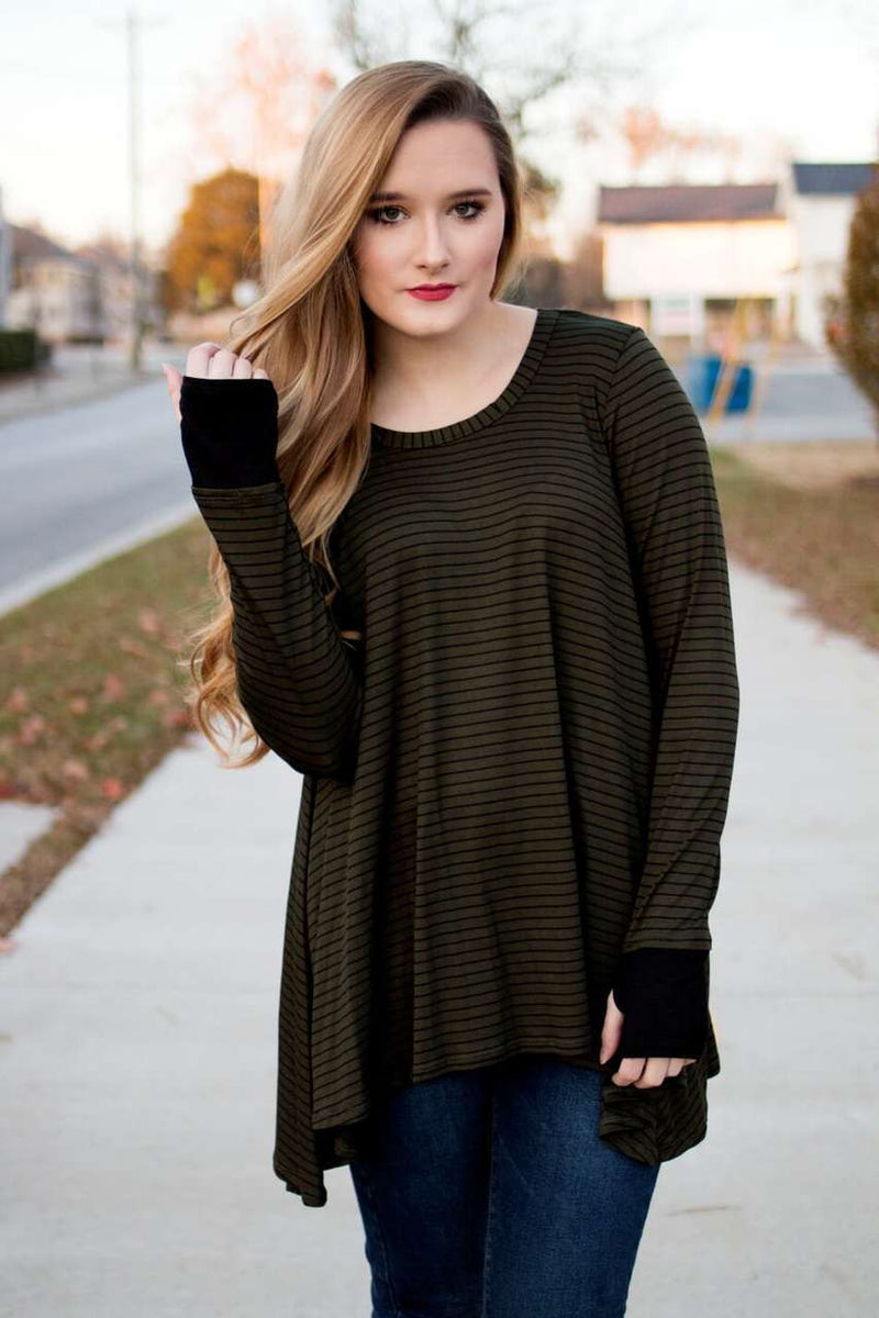 Olive Green Striped Top