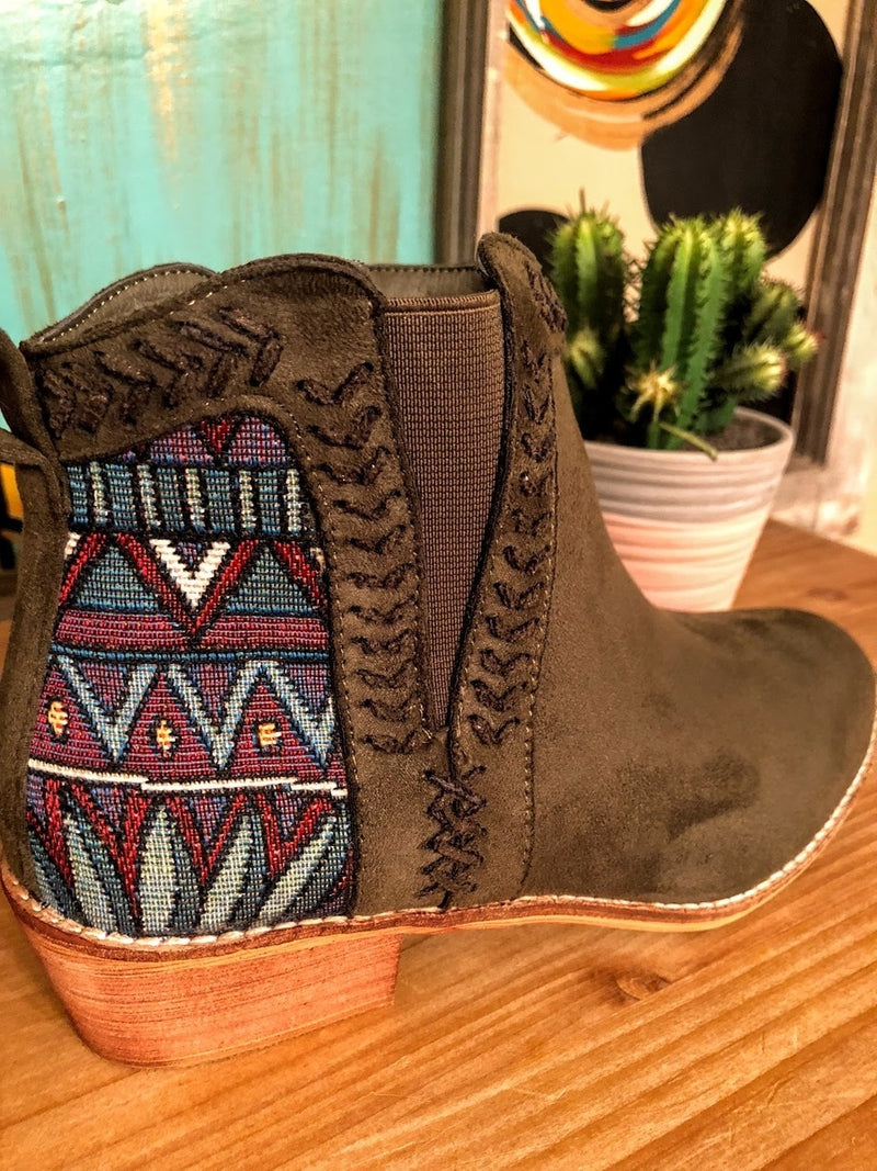 Olive Green Aztec Booties