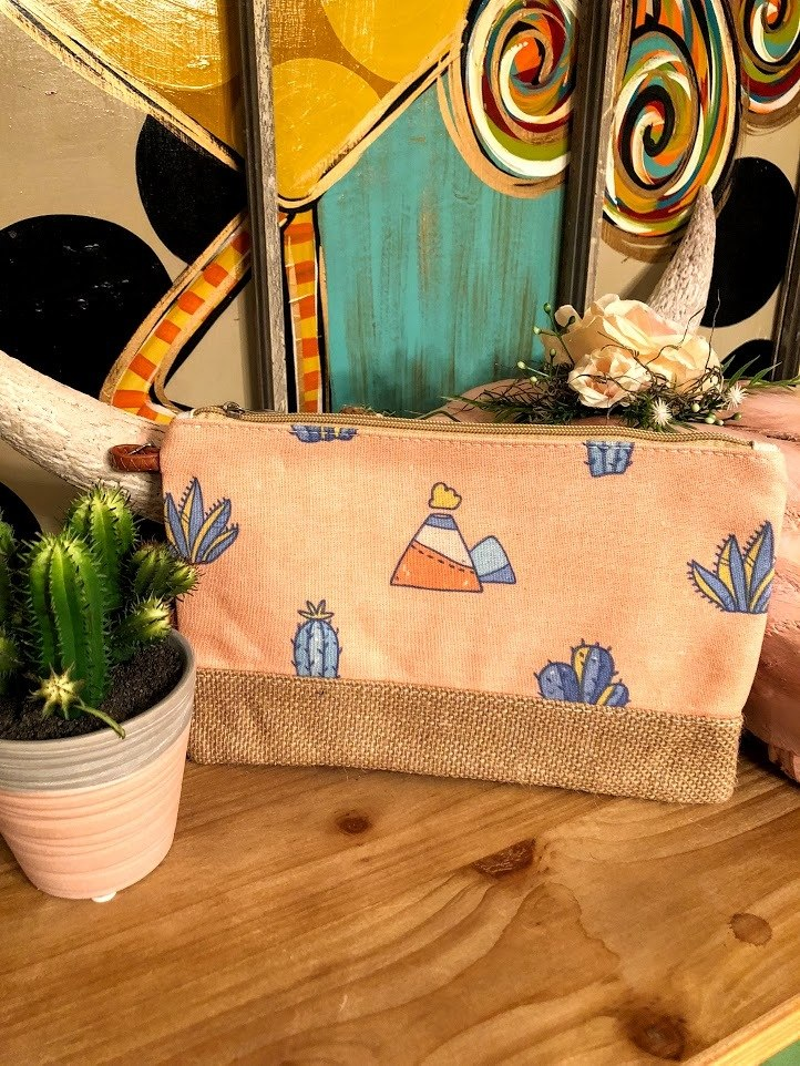 Peach Cactus Makeup Bag