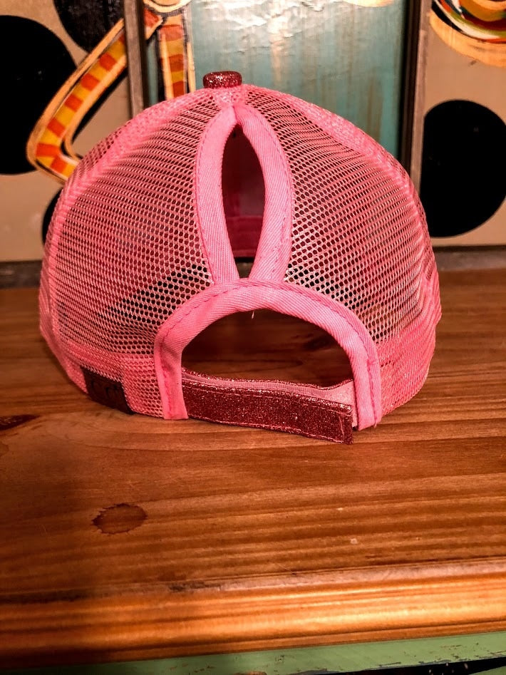 Bubble Gum Pink Glitter CC Ponytail Cap - The Pink Buffalo,LLC