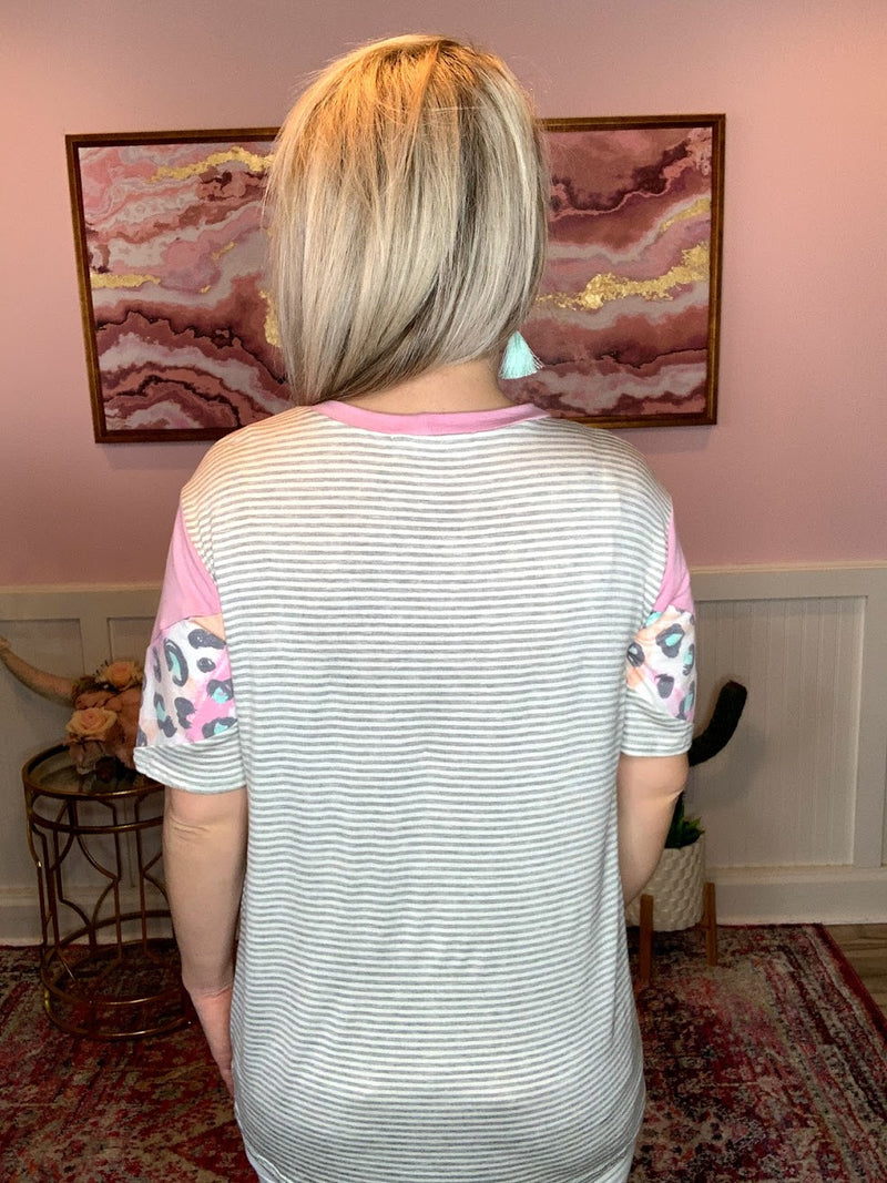 Pink Short Sleeve Chevron Top