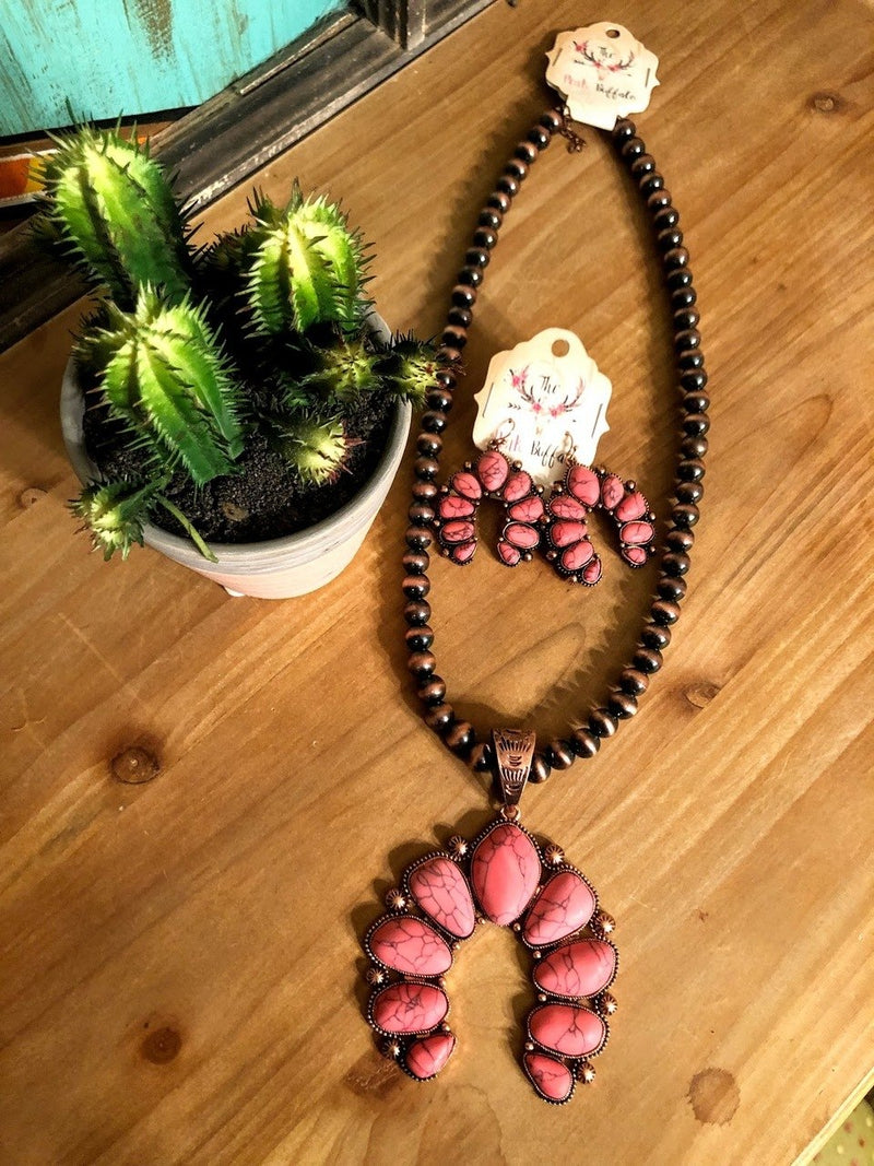 Squash Blossom Necklace-Pink