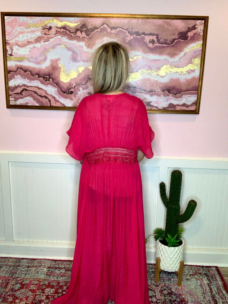 Fuchsia Lace-Up Duster