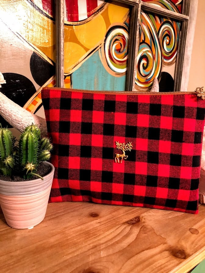 Buffalo Plaid Clutch - The Pink Buffalo,LLC