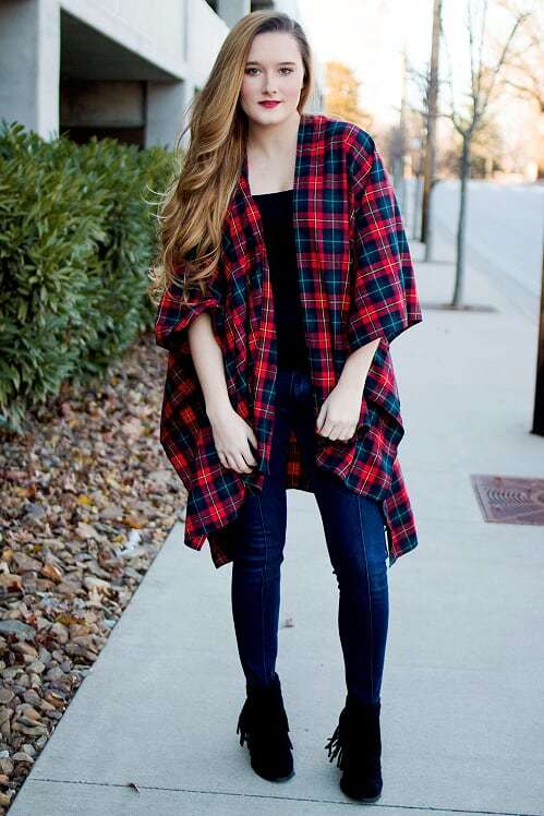 Red Plaid Poncho