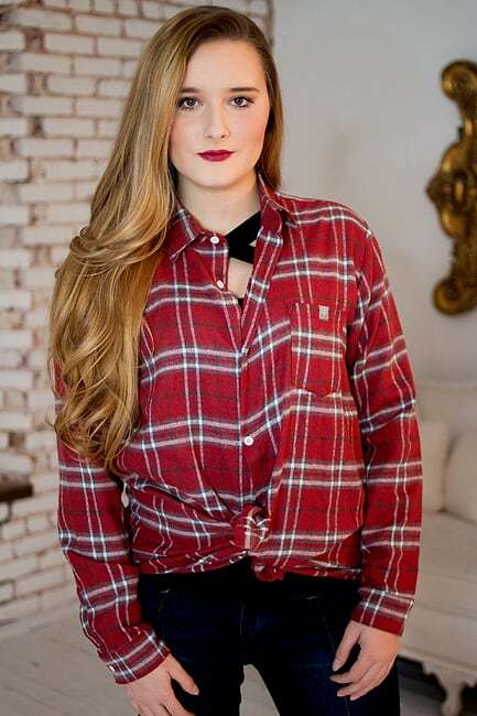 Crimson Plaid Blouse - The Pink Buffalo,LLC