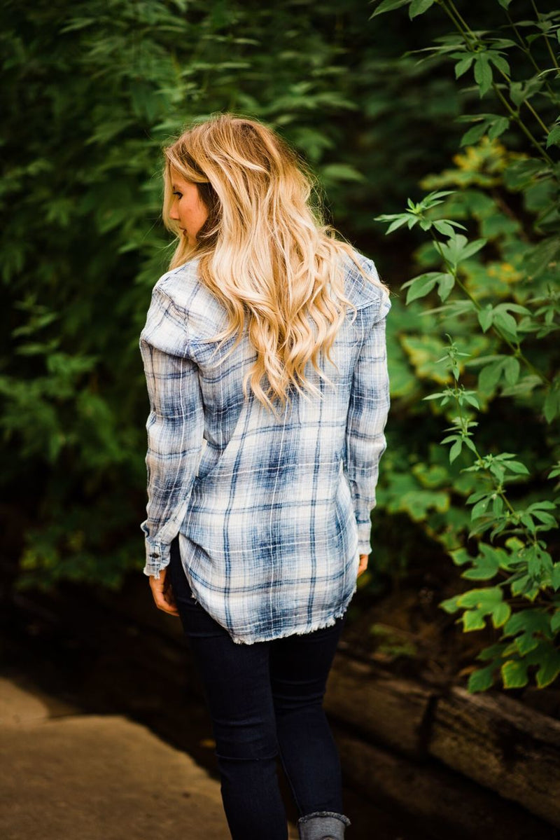 Plaid Fringe Button-Up