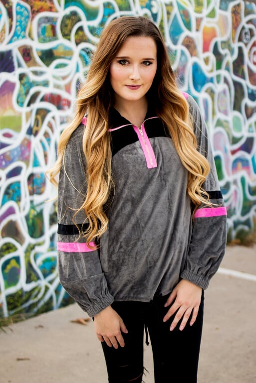 Front Zip Gray Pullover with Hot Pink Stripes