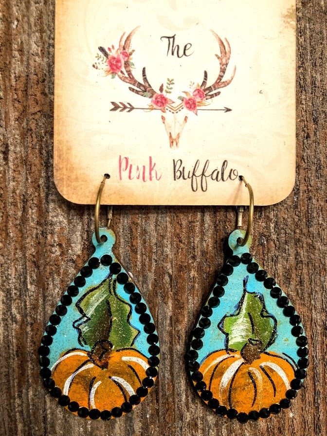 Hand Painted Pumpkin Earrings