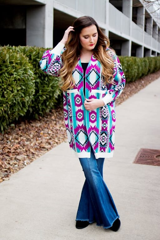 Purple Aztec Sweater Cardigan