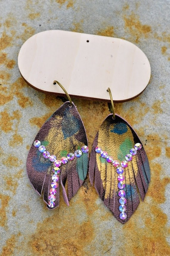 Purple Feather Rhinestone Earrings