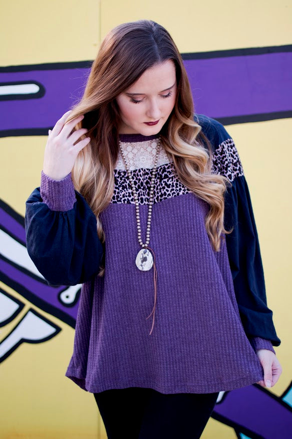 Animal Print Waffle Knit Top-Lavender