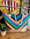 Rainbow Striped Tote