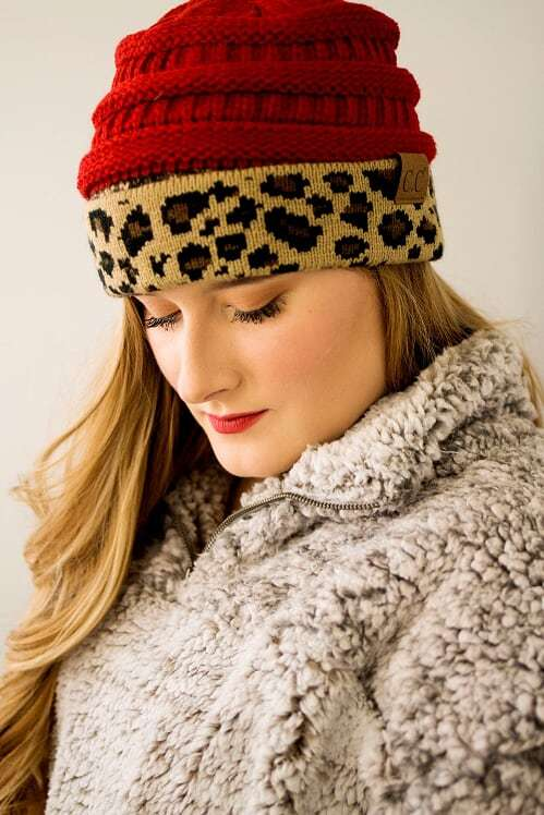 CC Beanie-Red Leopard - The Pink Buffalo,LLC