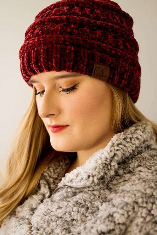 CC Velvet Beanie-Burgundy - The Pink Buffalo,LLC