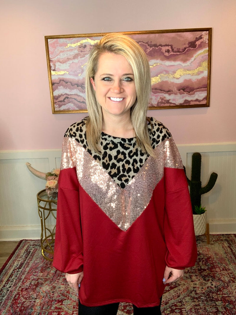 Red Sequin Chevron Top