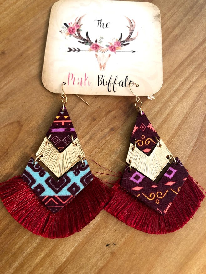 Aztec Fringe Earrings-Red