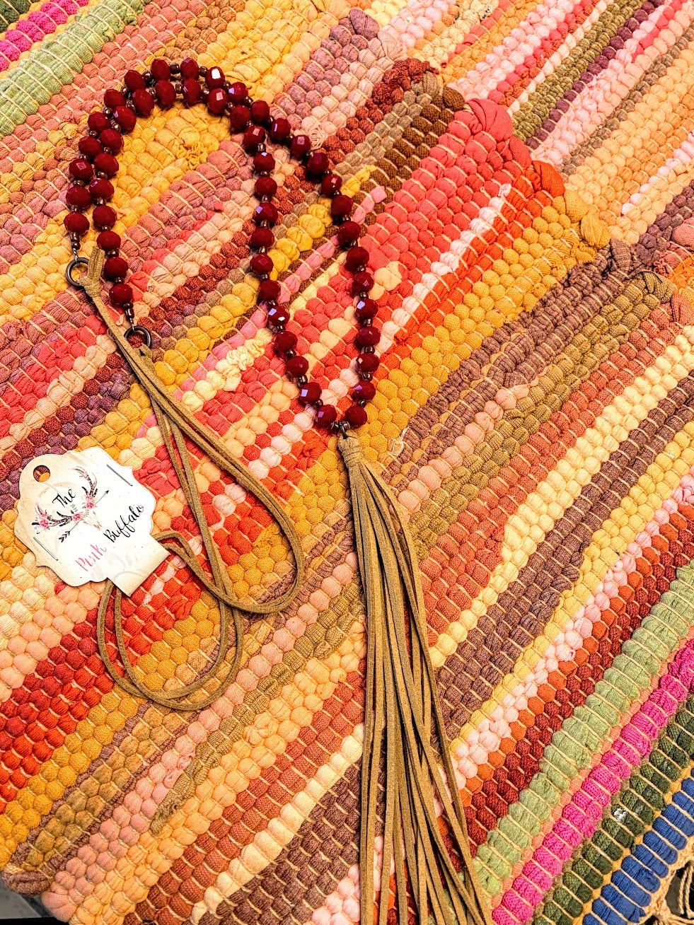 Red Tassel Necklace Necklace