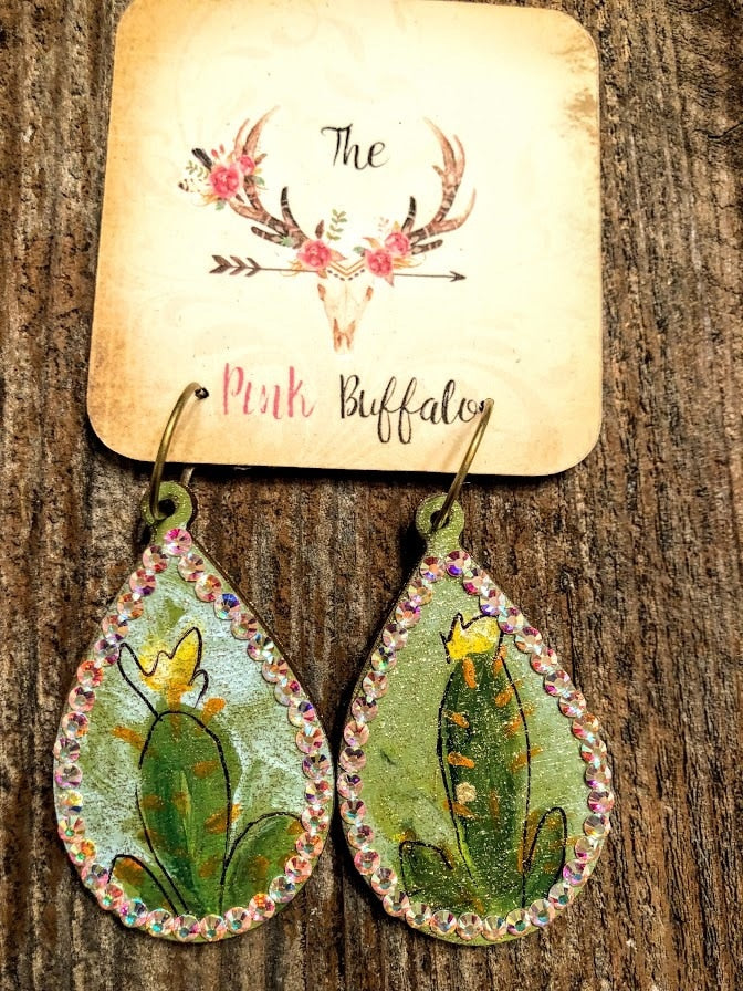 Hand Painted Cactus Earrings