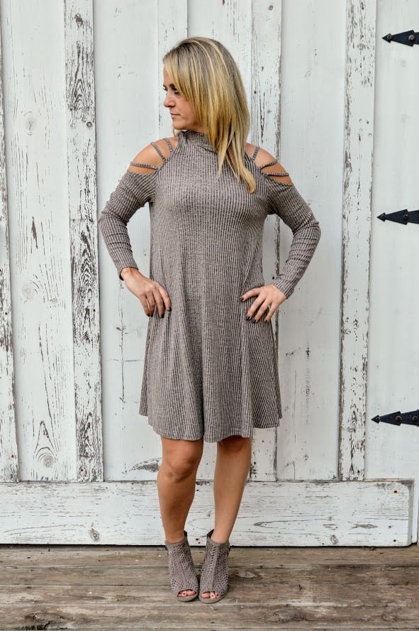 Ribbed Knit Dress with Shoulder Detail