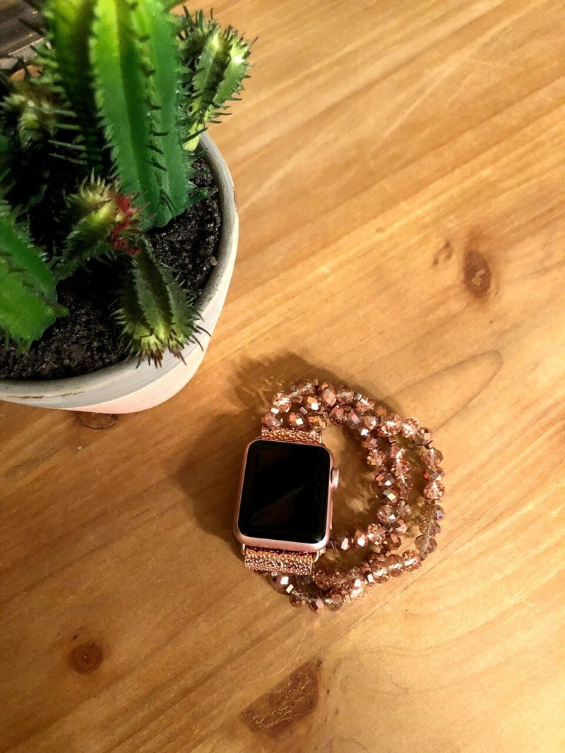 Rose Gold Beaded Watch Band-38mm