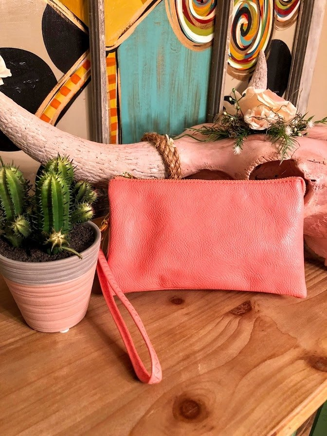 Leather Clutch-Salmon
