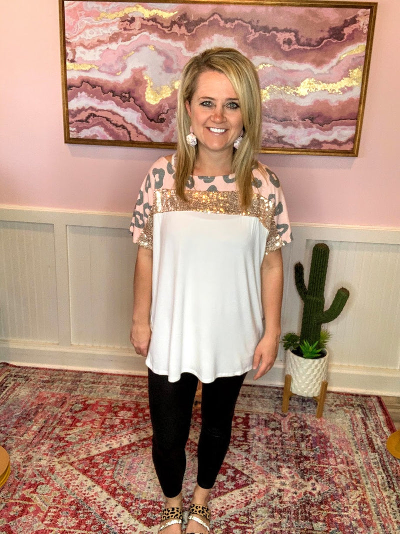 Pink Sequin Leopard Top