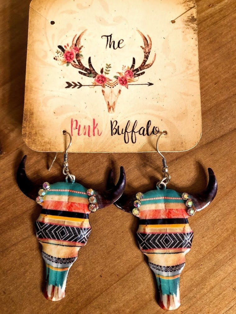 Serape Cowskull Earrings