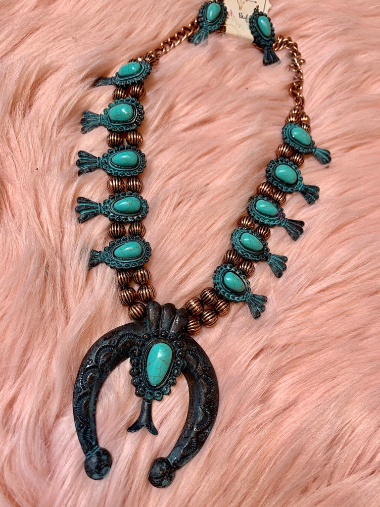 Patina Concho Necklace-Turquoise