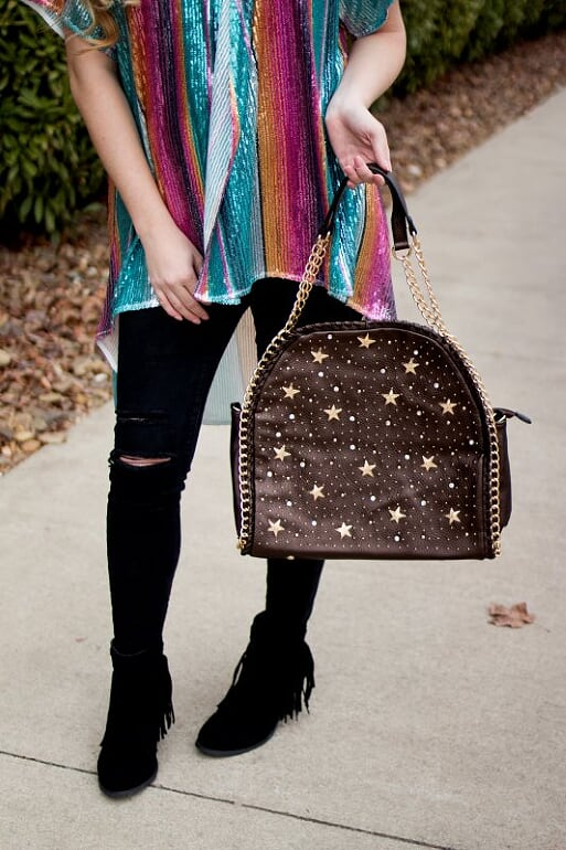 Brown Star Studded Bag