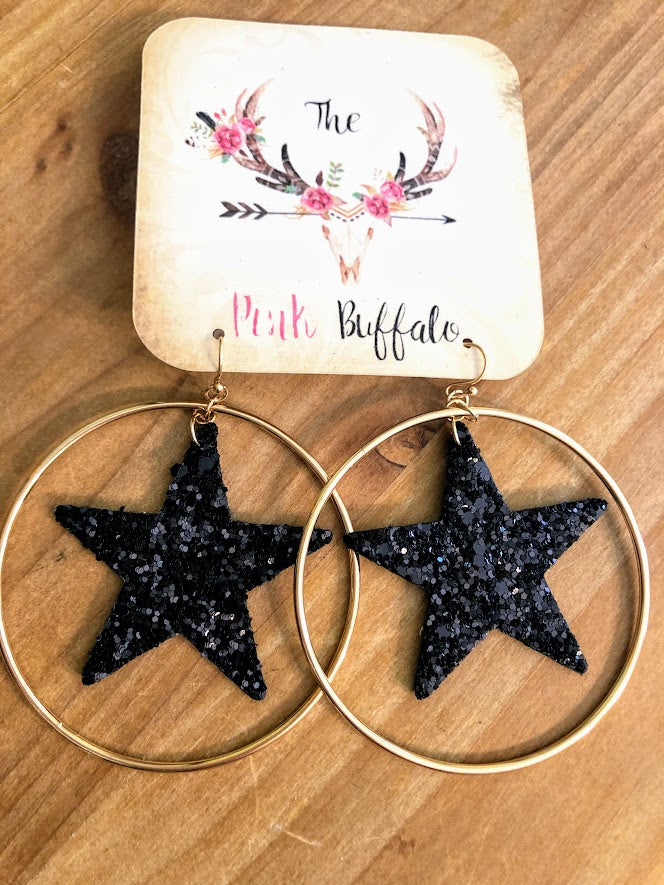 Hoop Black Star Earrings