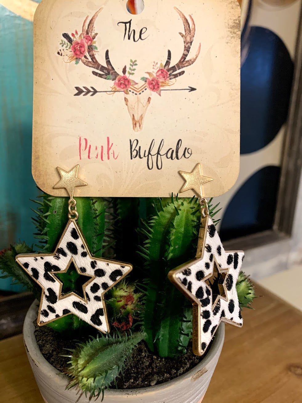 Leopard Star Earrings-White