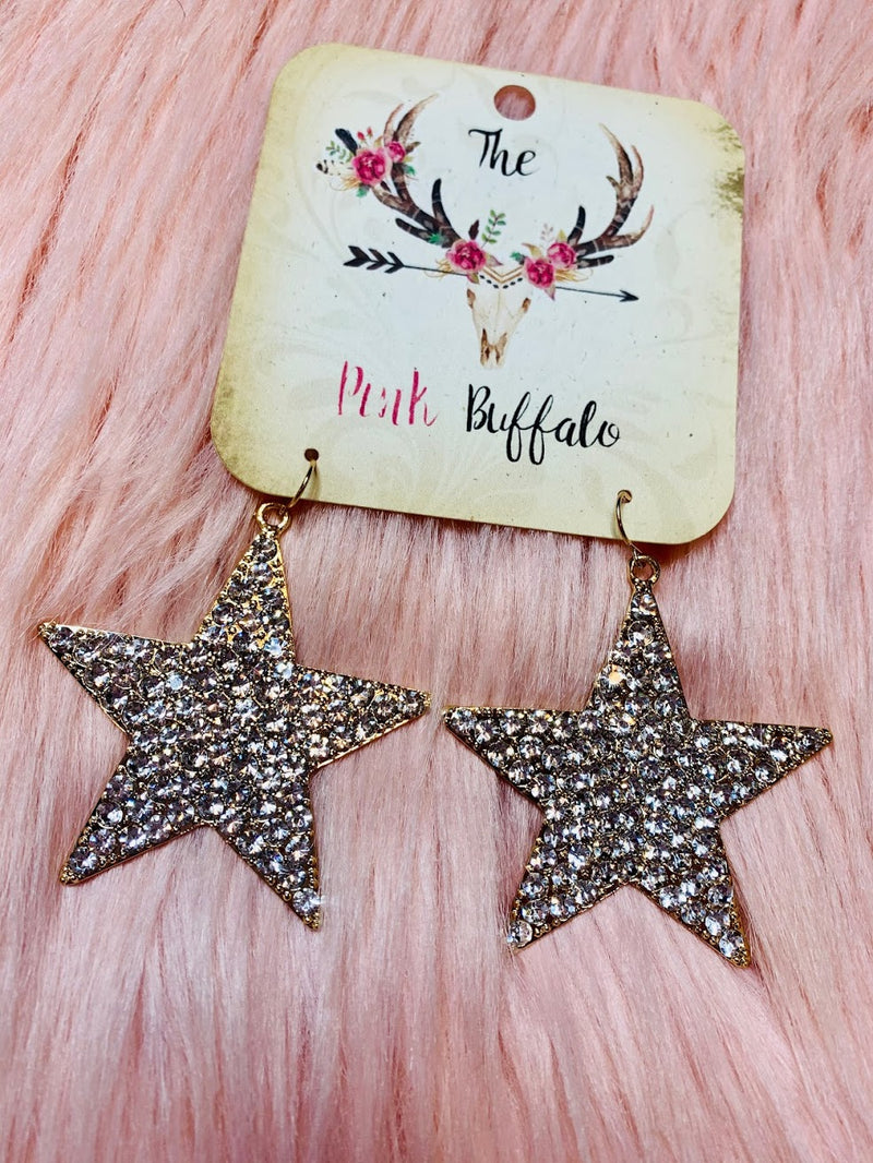 Large Star Rhinestone Earrings