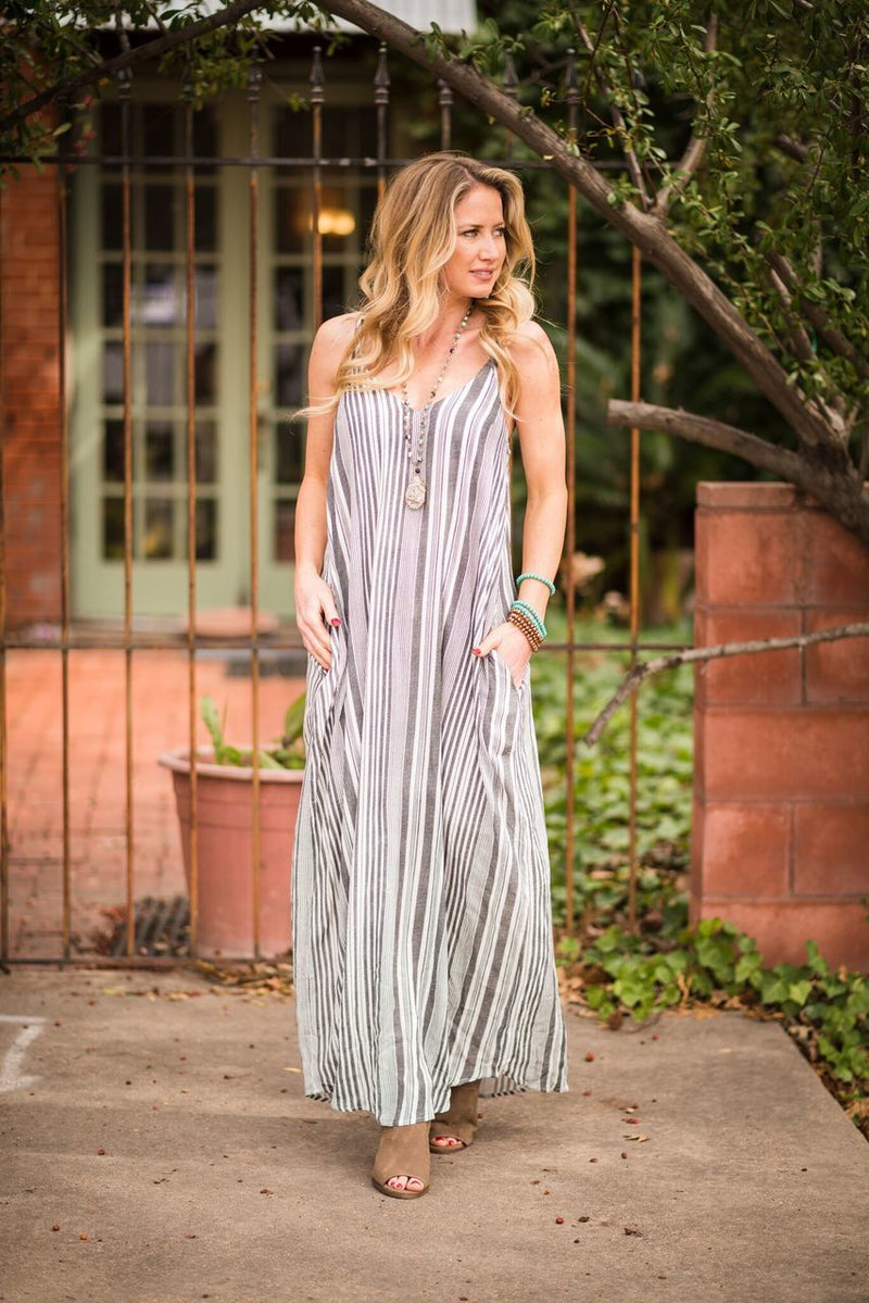 Striped Maxi Dress-PLUS