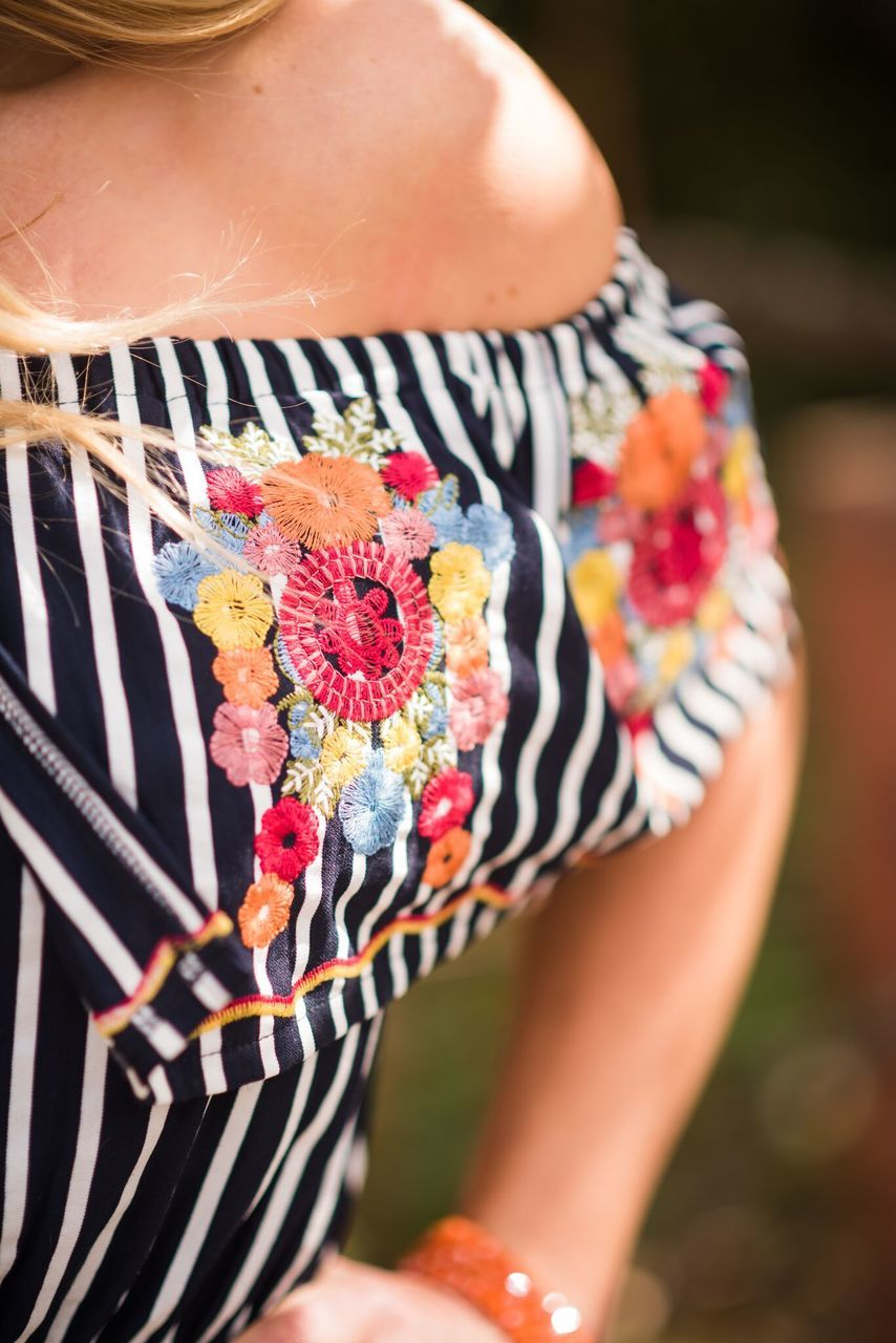 Navy Striped Floral Romper