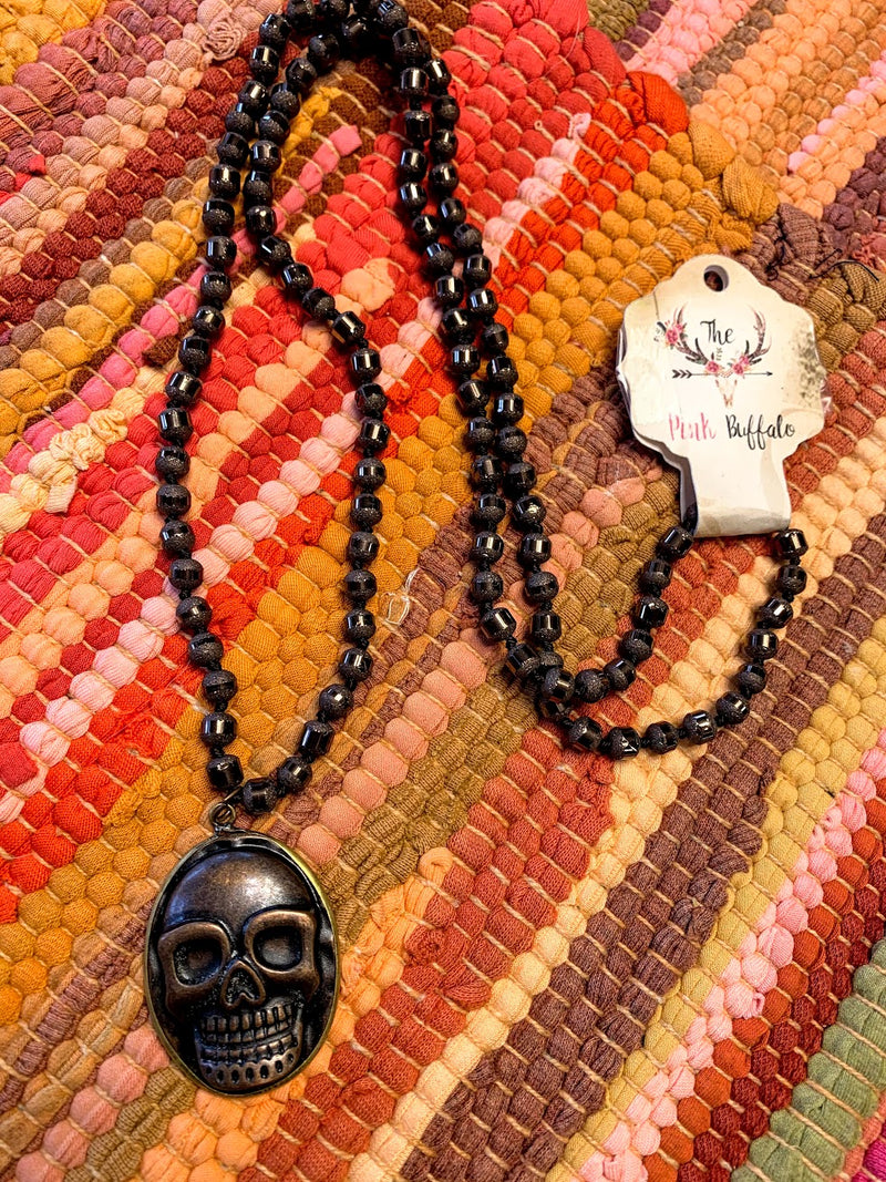 Sugar Skull Necklace-Bronze