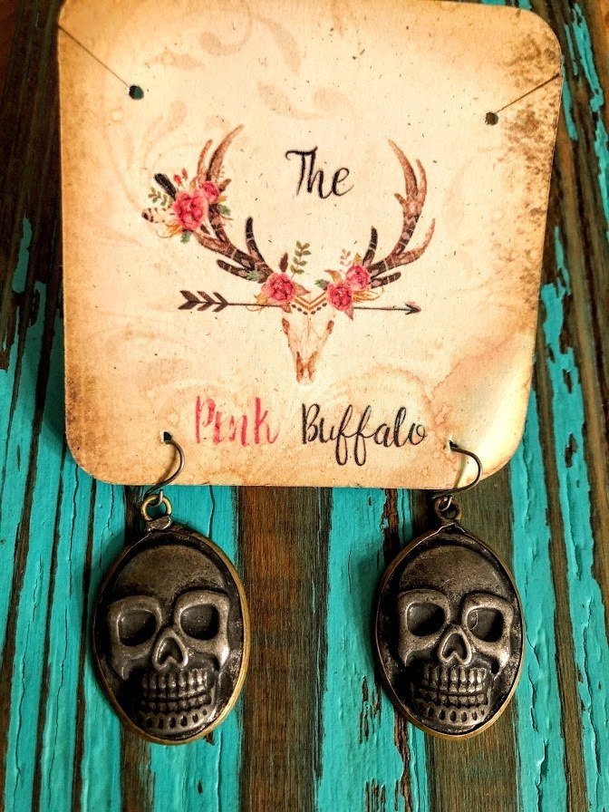 Sugar Skull Earrings-Silver