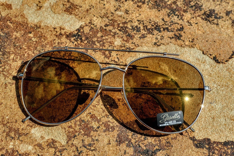 Aviator Sunglasses (Gold Tinted) - The Pink Buffalo,LLC