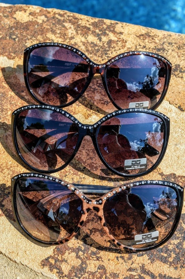 Rhinestone Sunglasses (Dark Brown)