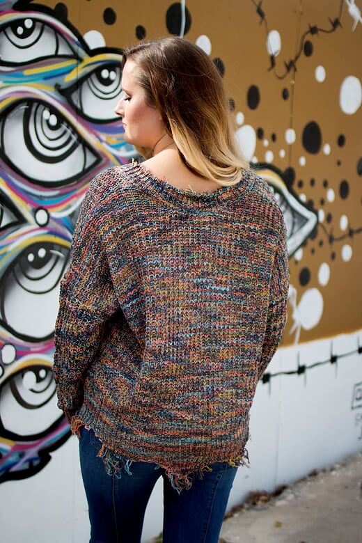Multicolored V-Neck Frayed Sweater