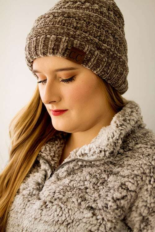 CC Velvet Beanie-Taupe - The Pink Buffalo,LLC