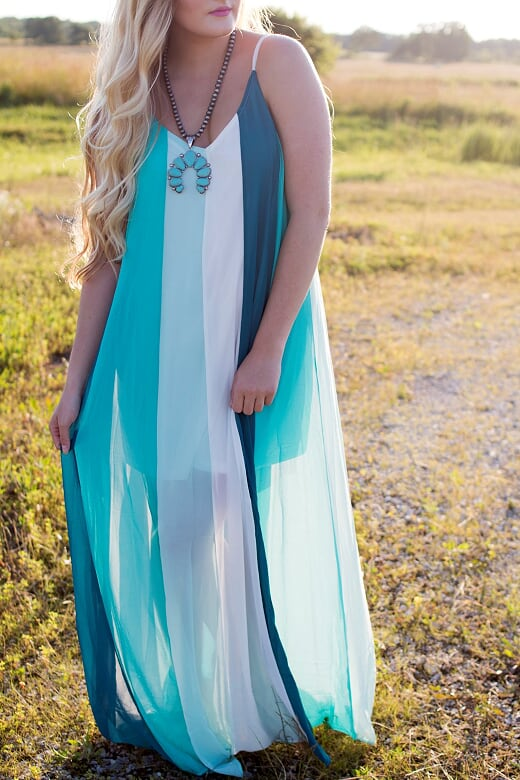 Teal Striped Maxi Dress