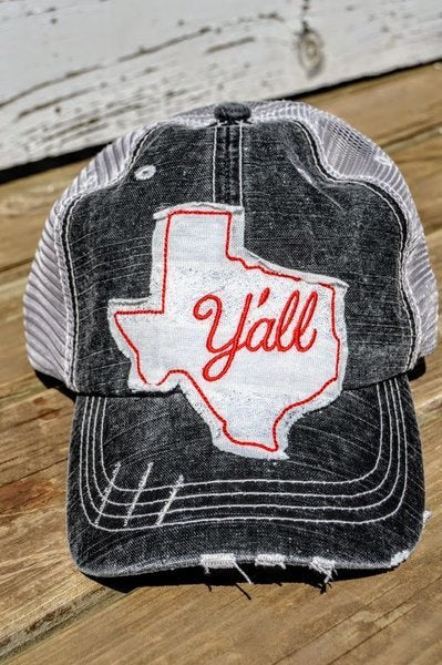 Texas Y'all Hat Red Lace