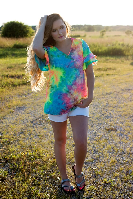 Tie Dye Ruffle Top-PLUS