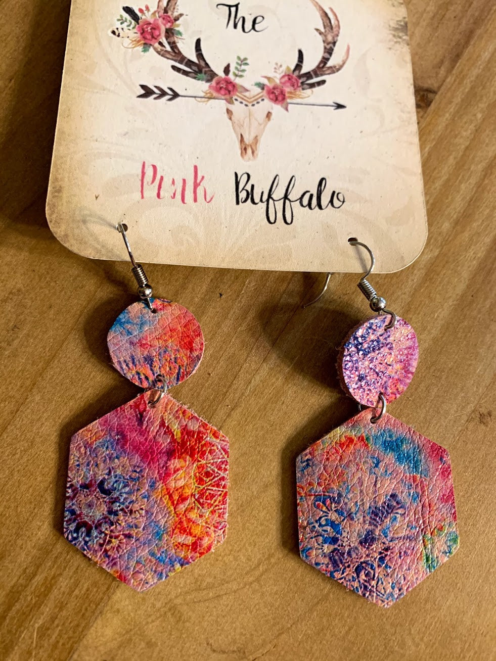 Tie Dye Hexagon Earrings