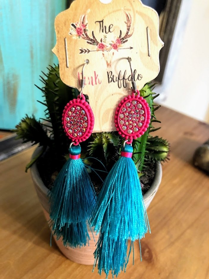 Turquoise and Hot Pink Tassel Earrings