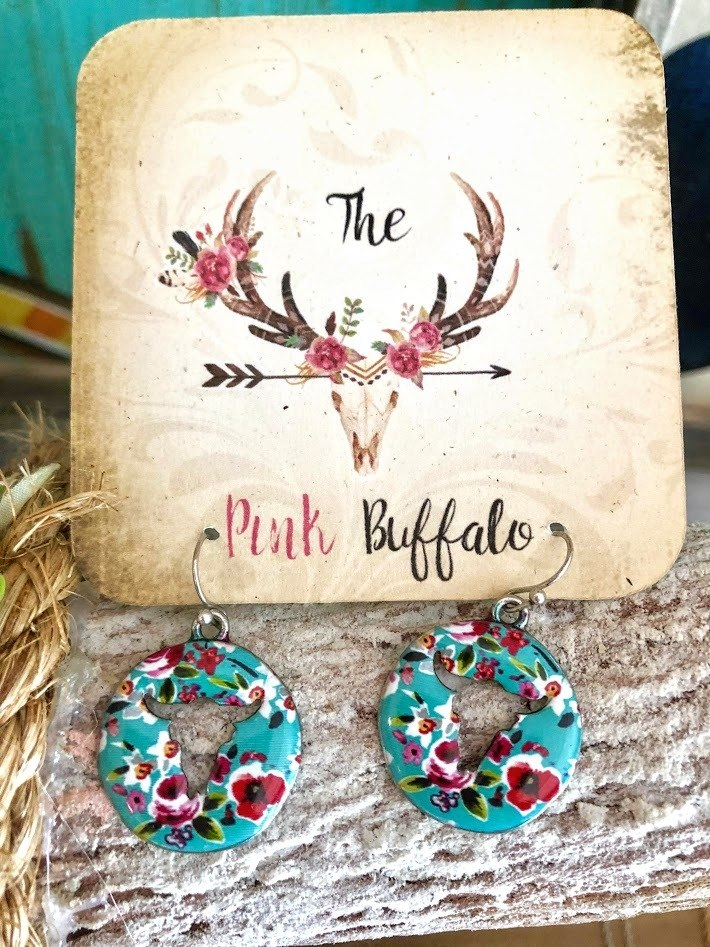 Floral Cowskull Earrings-Turquoise