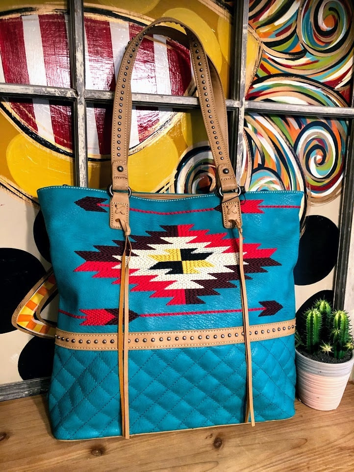 Aztec Embroidered Tote-Turquoise - The Pink Buffalo,LLC