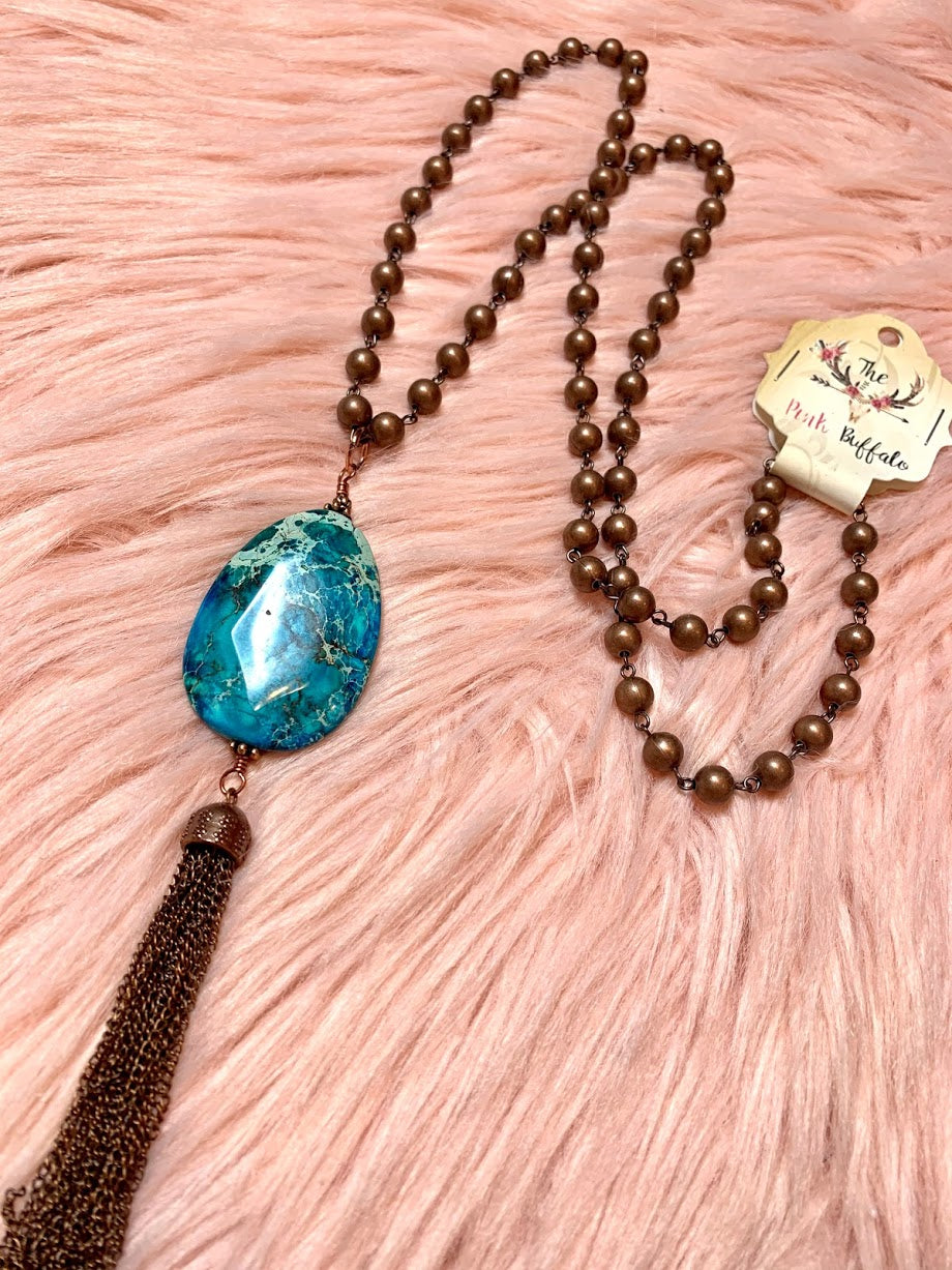 Turquoise Stone Necklace-Bronze